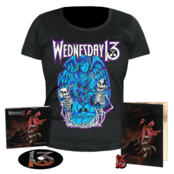WEDNESDAY 13 Condolences CD Dig + Girlie Shirt + Pin+ Card